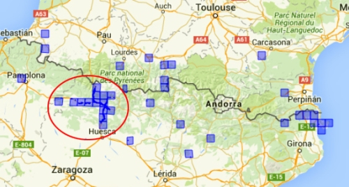 Mapa Dittrichia graveolens Pirineo2
